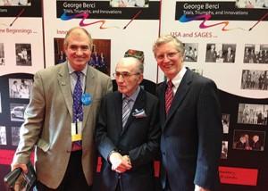 George Berci (center) with Steve Schwaitzberg (left) and L. Michael Brunt (right)