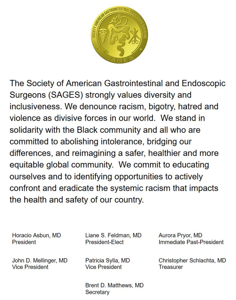 SAGES Statement Opposing Racism